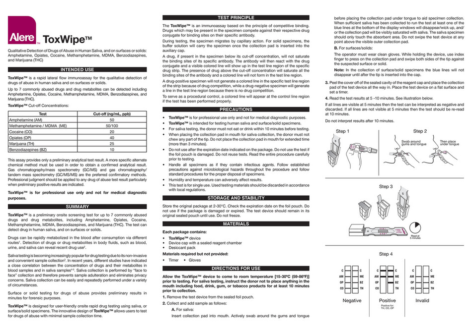 My publications - Alere Toxwipe Saliva Drug Testing Kit