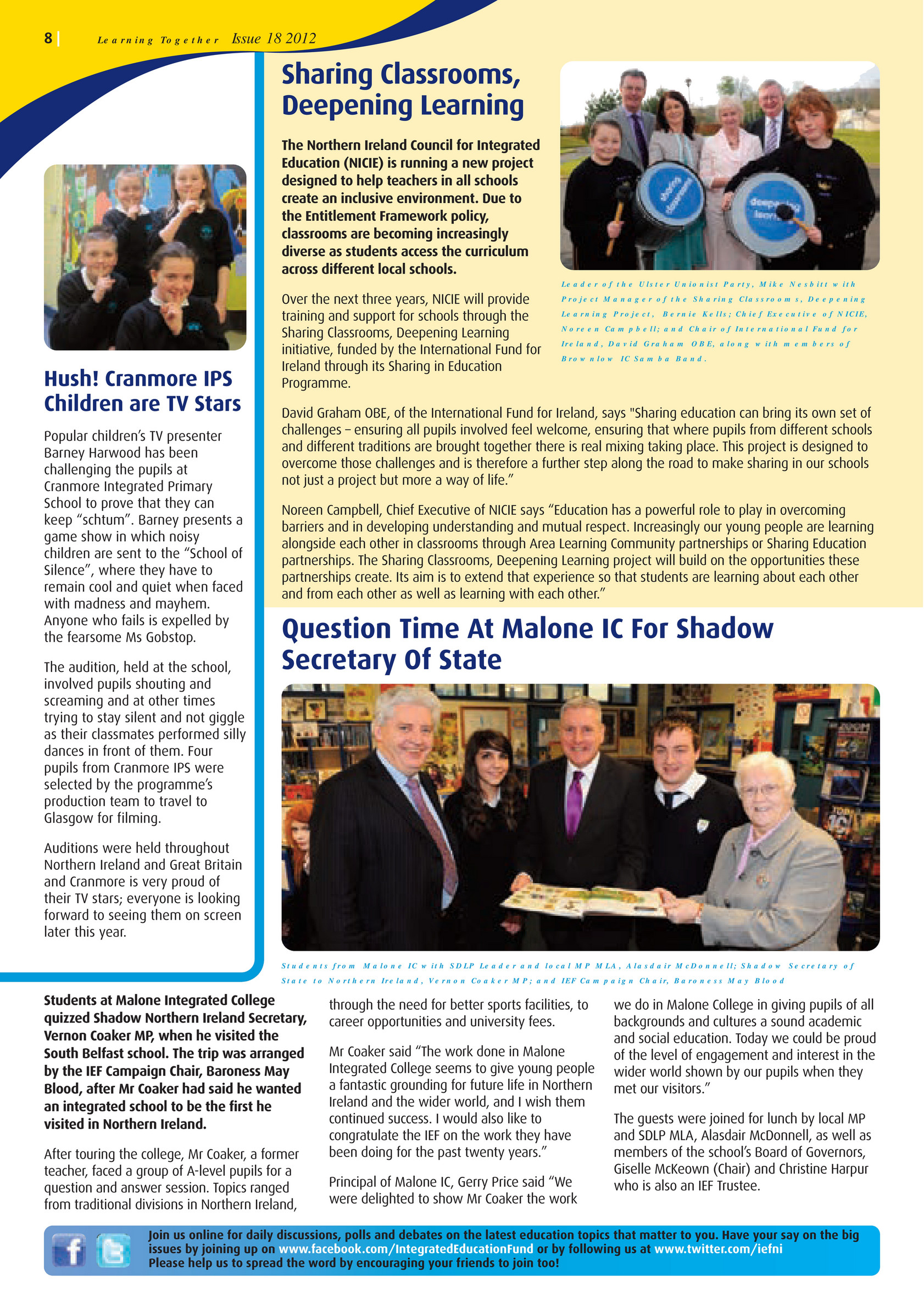 Integrated Education Fund - learning Together Issue 18 Spring Summer 2012 -  Page 8-9 - Created with Publitas.com