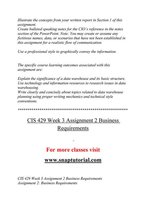 Ashford University - CIS 429 Course Extrordinary Success