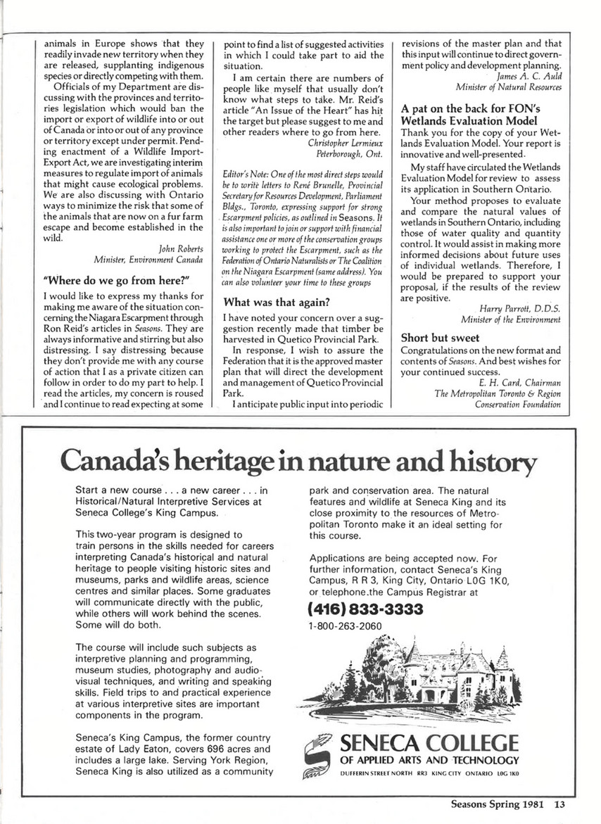On Nature Magazine Spring 1981 Page 14 15