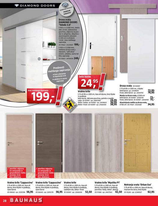 Bauhaus Diamond Doors Porte Battante Vitree White De Diamond Doors