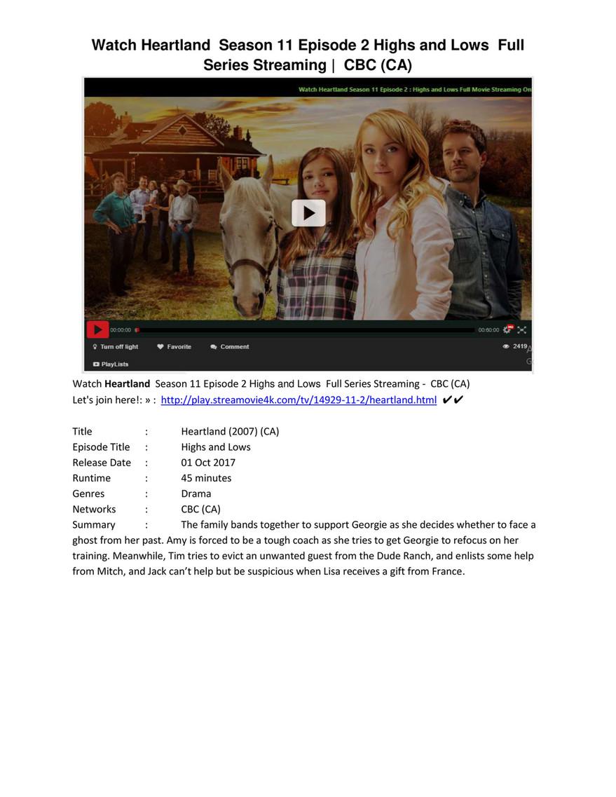 Heartland S11E2 Season 11 Episode 2 #Highs and Lows (CBC (CA