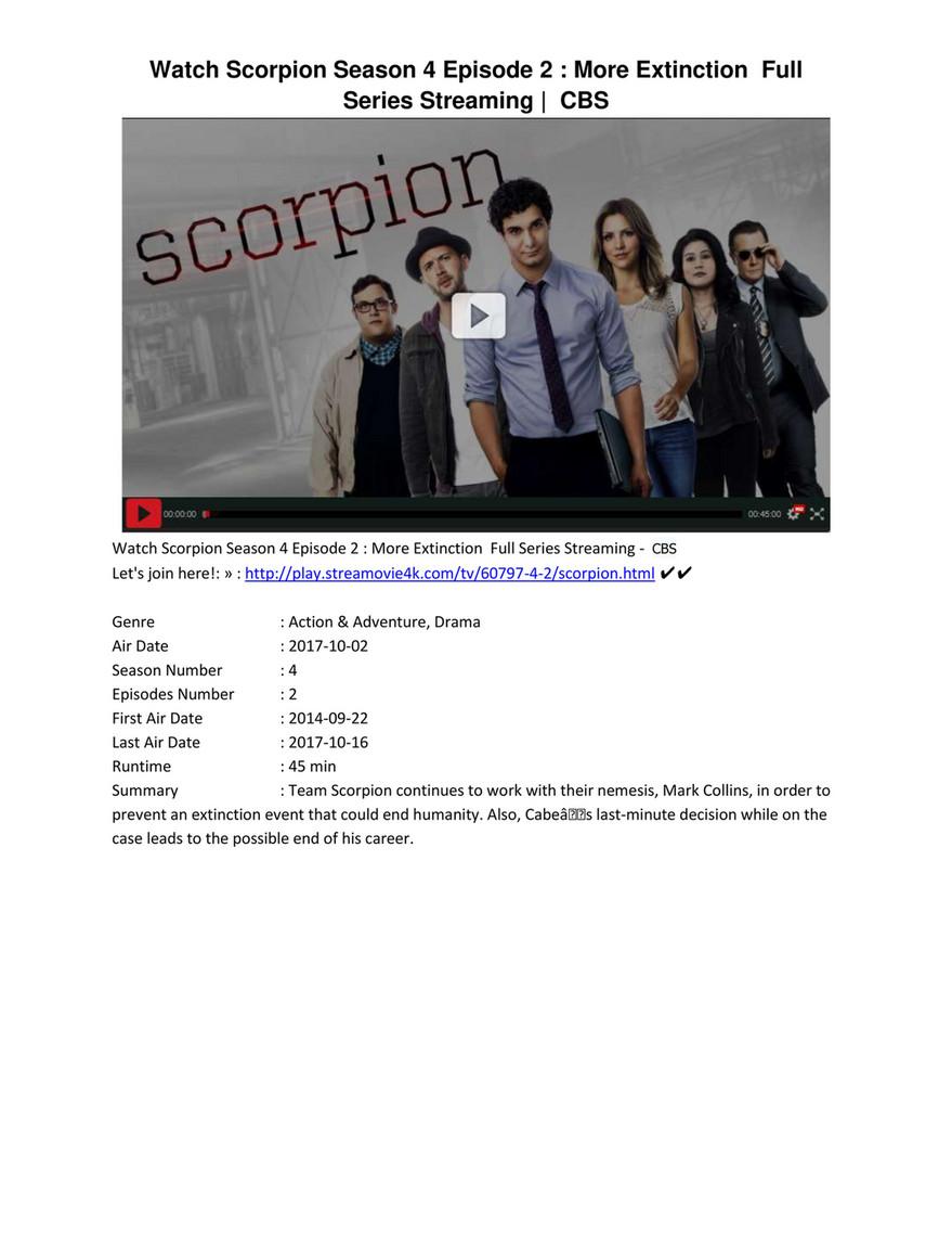 W4tch Scorpion Season 4 Episode 2 More Extinction On Cbs Page 1