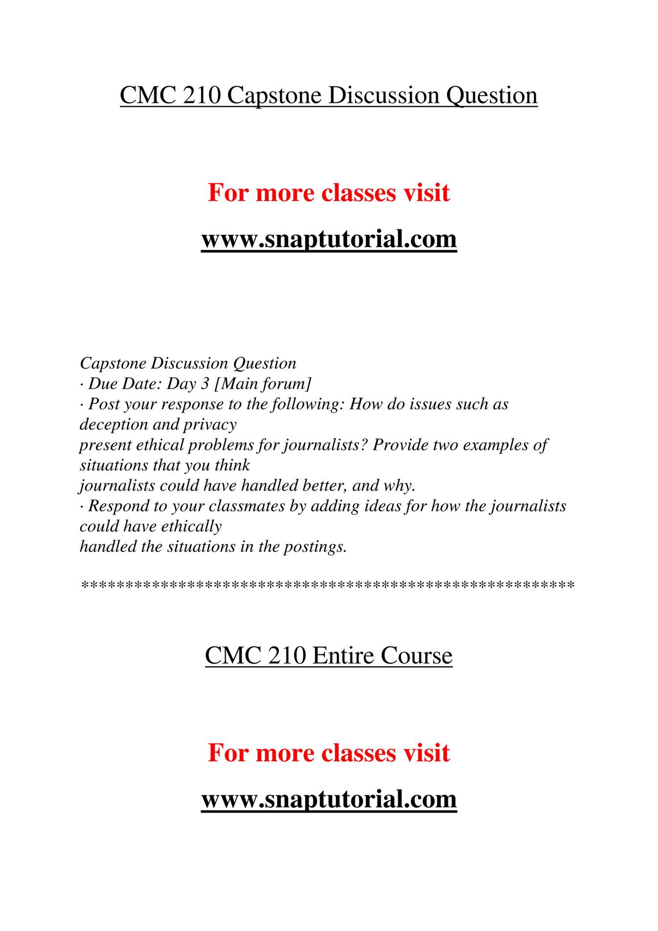 Ashford University - CMC 210 Course Extrordinary Success