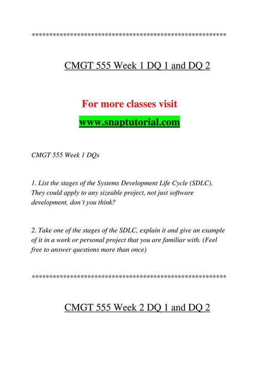 cmgt/555: systems analysis and development wk 2: project plans [due mon] wk 2: project plans