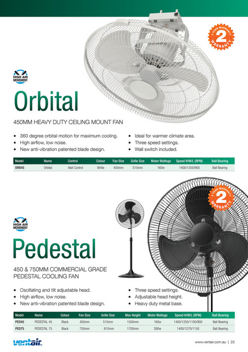 Ventair Pty Ltd - Ventair Summer Ceiling Fan Catalogue - 2017-2018