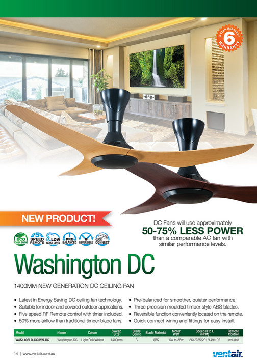 Ventair pty ltd ventair summer ceiling fan catalogue 2017 2018 dc fans will use approximately 50 75 less power than a aloadofball Gallery