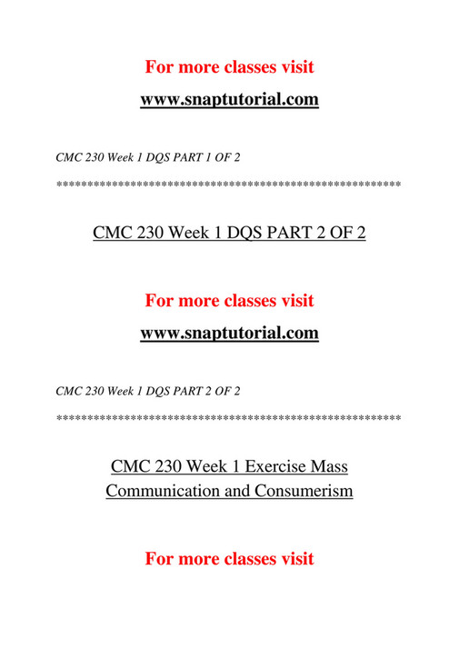 Ashford University - CMC 230 Course Extrordinary Success