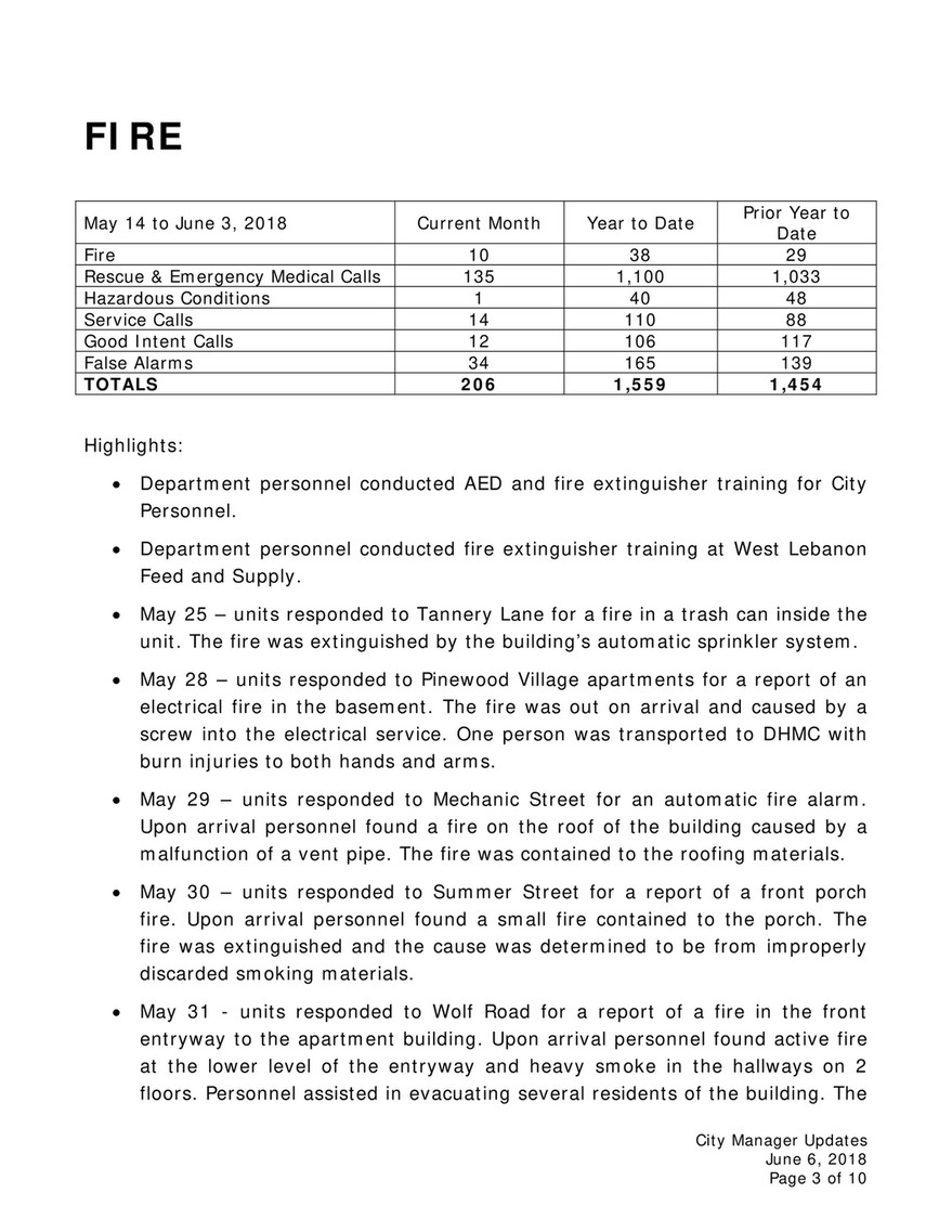 City of Lebanon - Manager Update 06/06/18 - Page 1