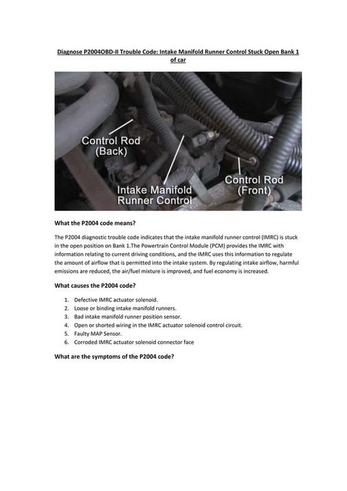 Mercedes intake manifold runner control stuck closed bank 1   P2006