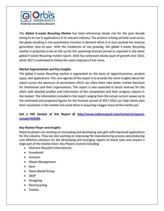 Freelancer - E-waste Recycling Market 2017 Analysis