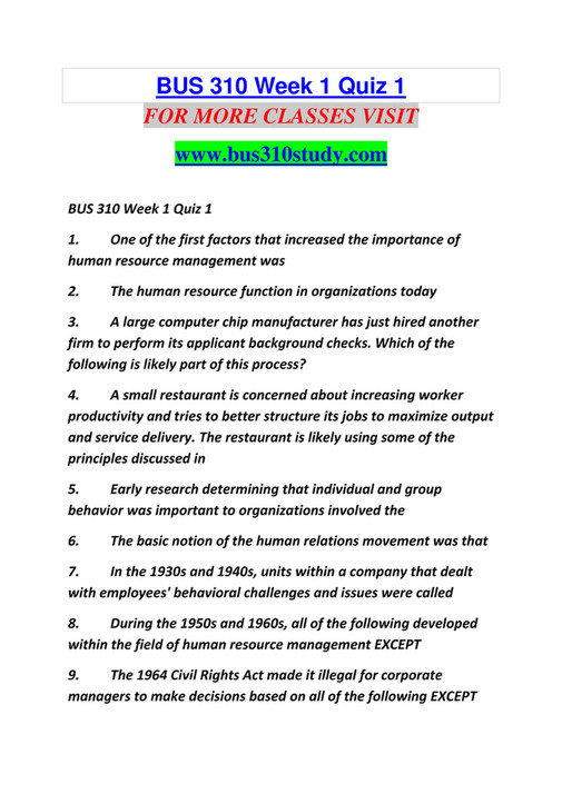 ASdfghnm - BUS 310 STUDY Education Redefined /bus310study com - Page