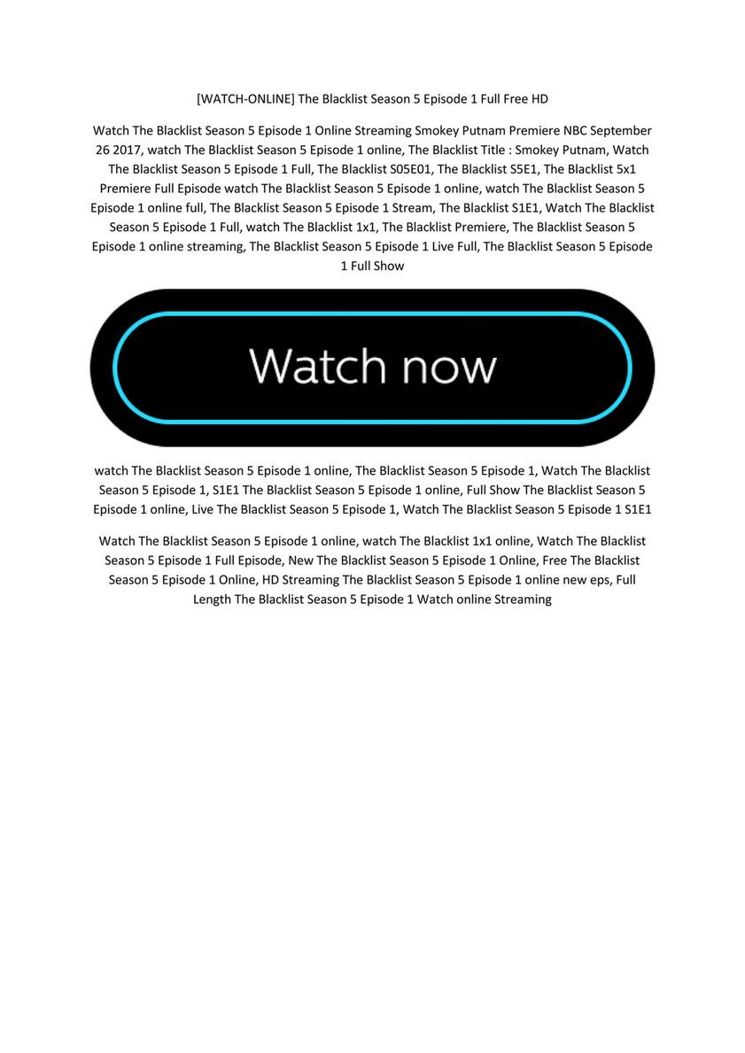 Watch Online The Blacklist Season 5 Episode 1 Full Free Hd