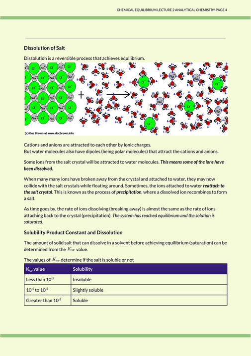 Lecture Notes PDFs - 17s3/anchem/02 CHEMICAL EQUILIBRIA