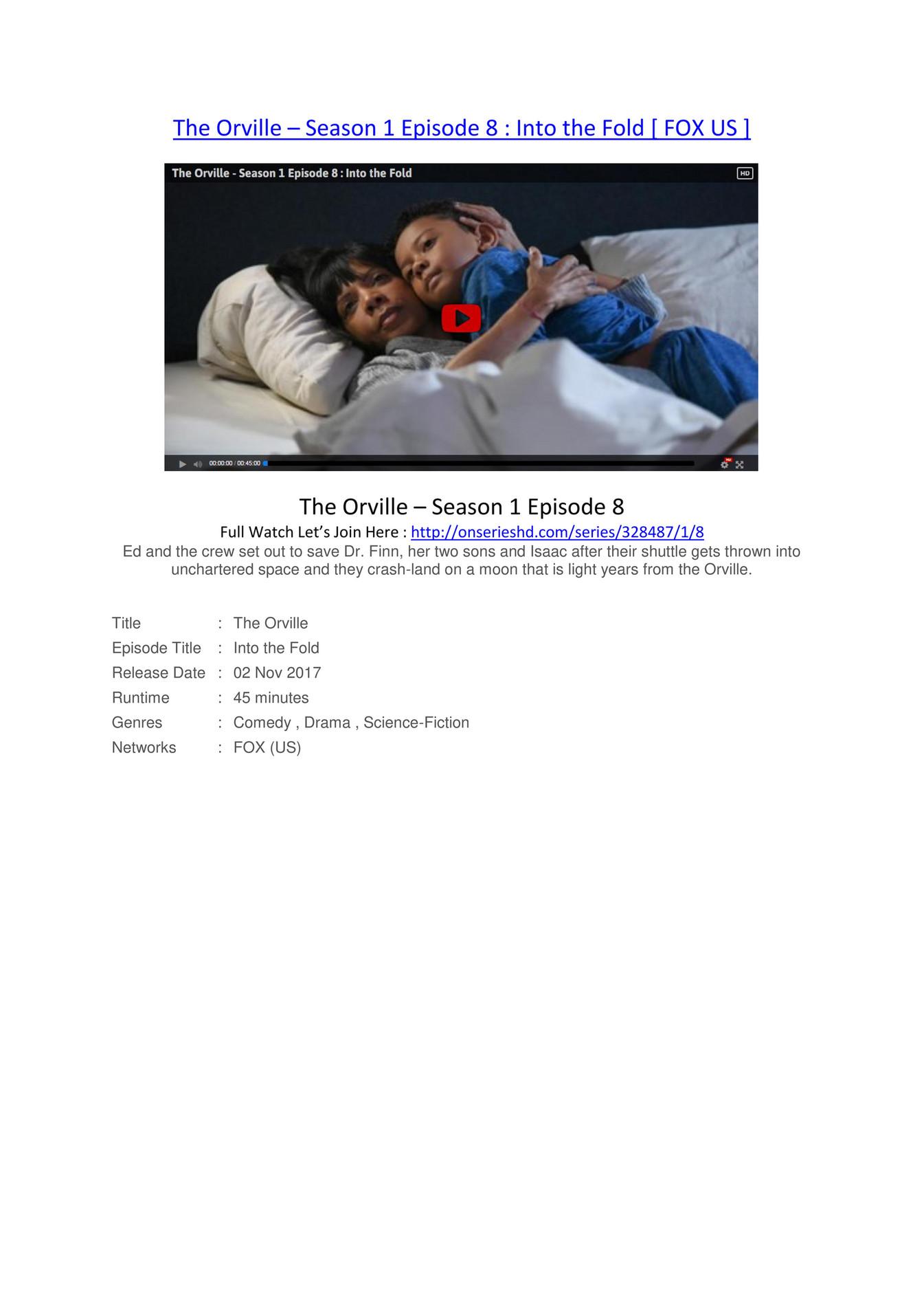 Full~Watch! The Orville (s01xe08) – Season 1 Episode 8 [CBS