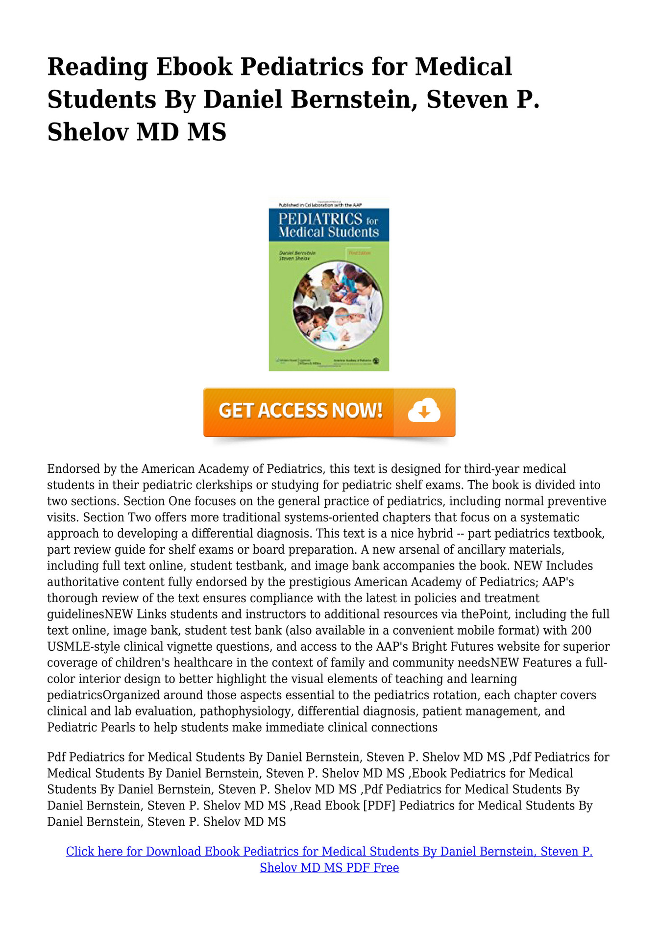 Pediatrics For Medical Students Pdf