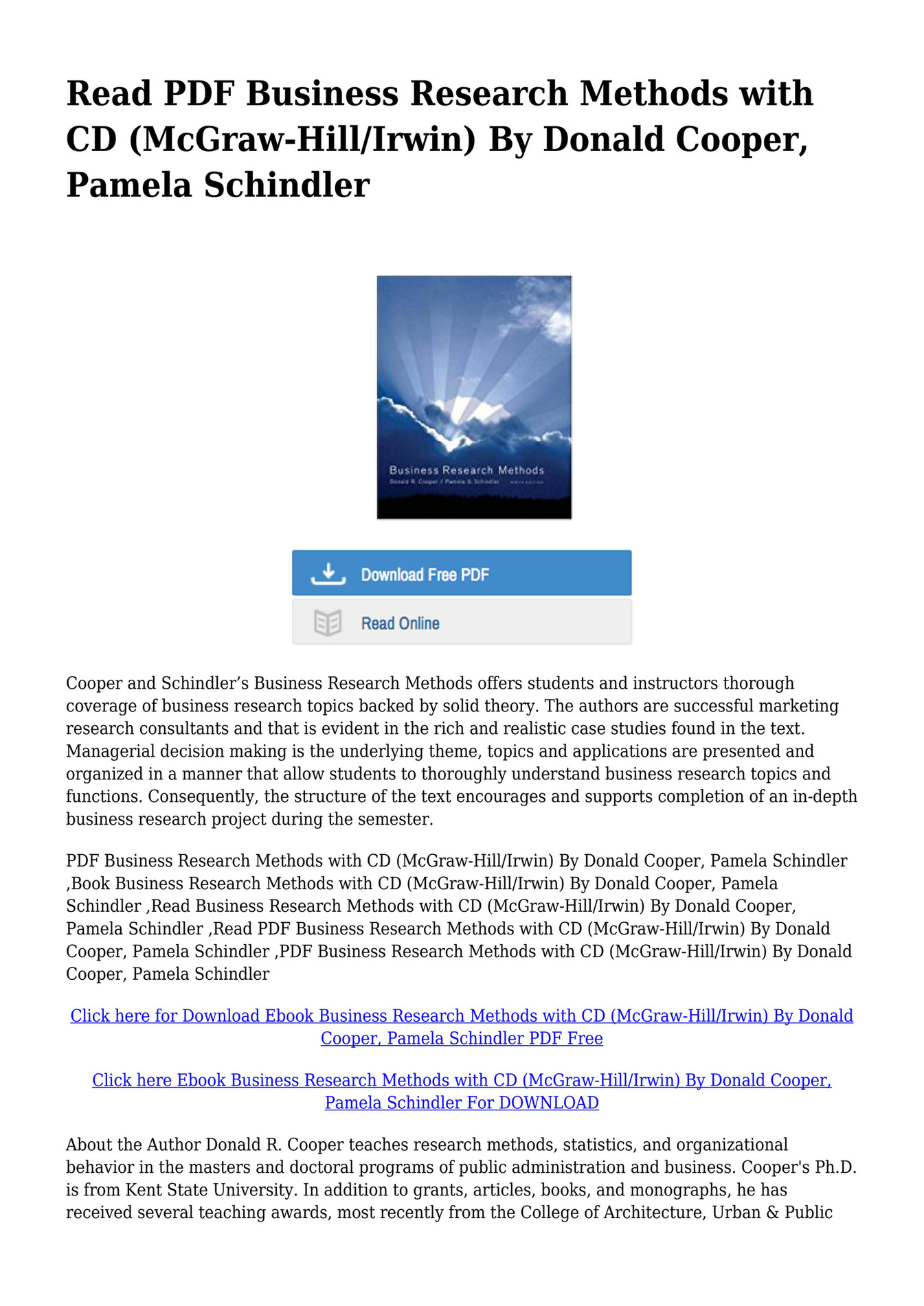 Business Research Methods Cooper Schindler Pdf