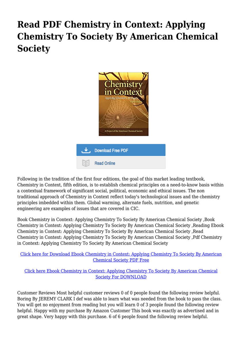 Chemistry In Context Ebook