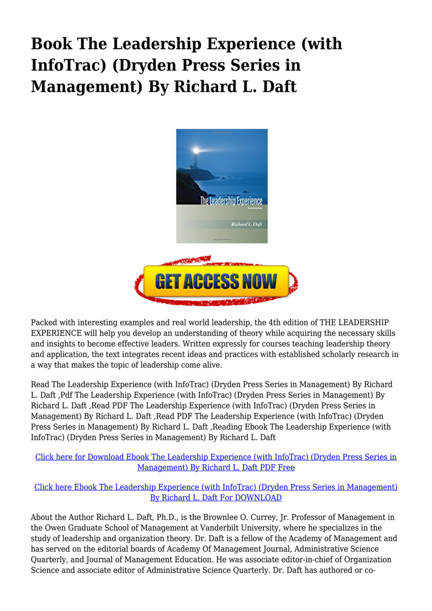 pdf - download pdf the leadership experience with infotrac