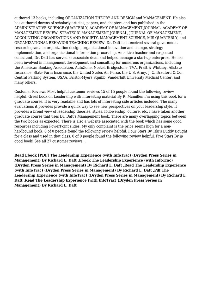 Pdf Download Pdf The Leadership Experience With Infotrac Dryden Press Series In Management By Richard L Daft Page 2 Created With Publitas Com