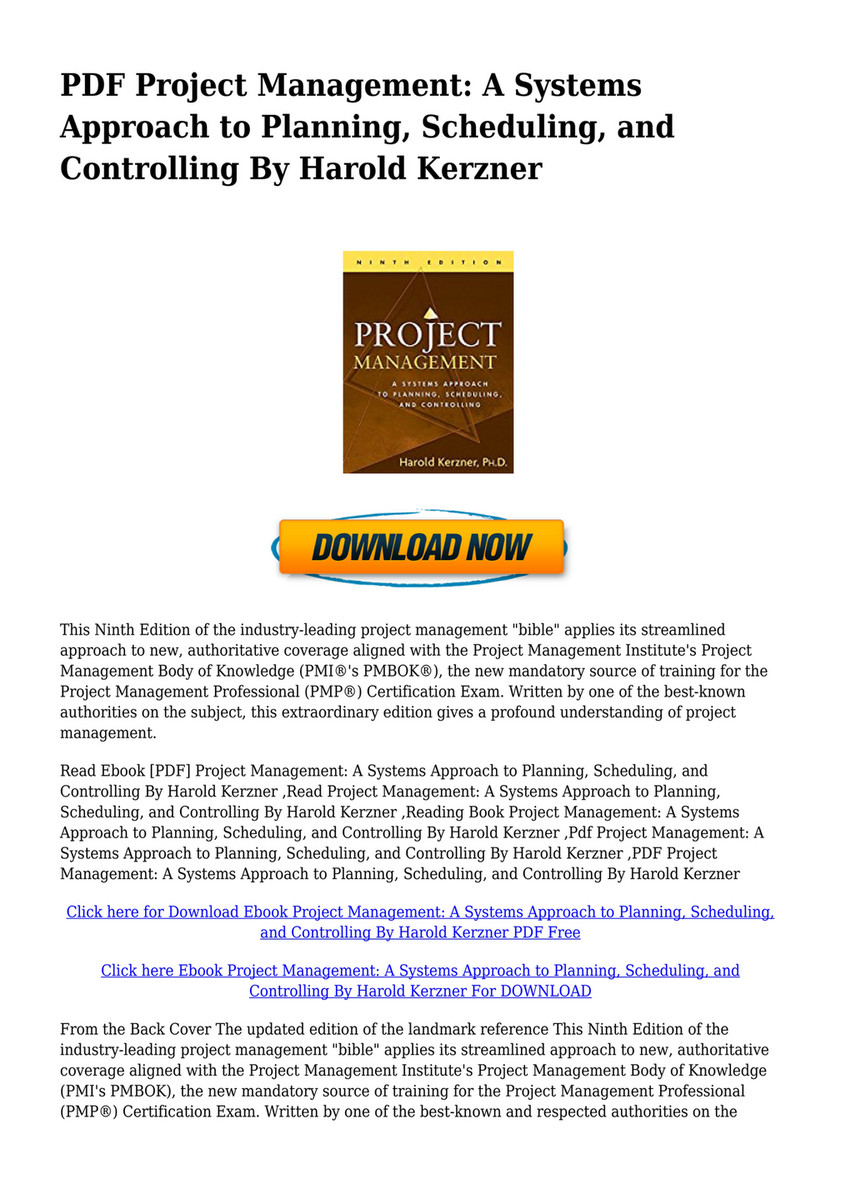 Pdf Project Management A Systems Approach To Planning Scheduling
