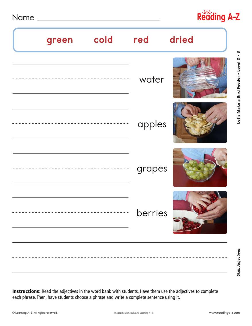 - Good Will Children School - English Worksheet For Grade 1 (week8