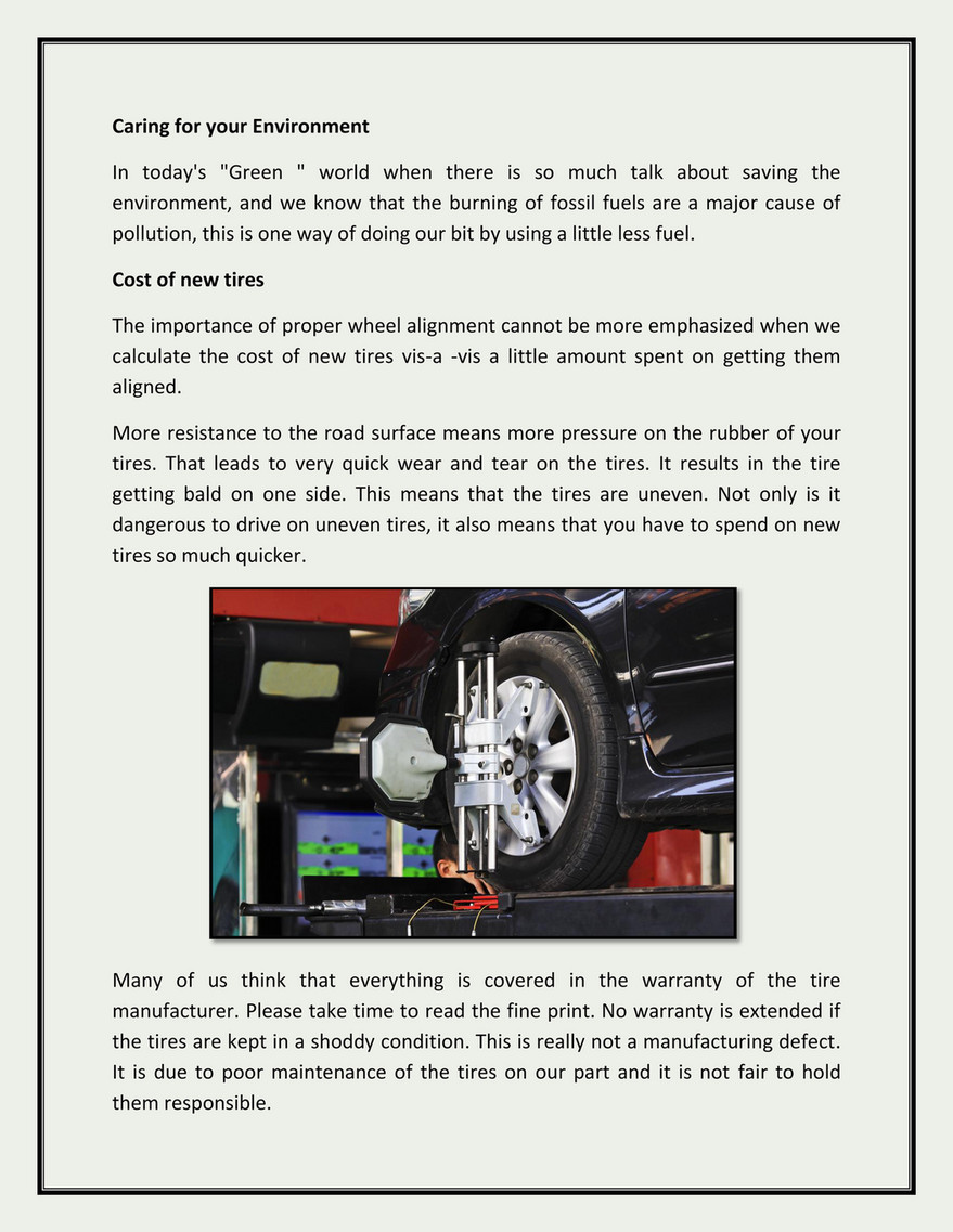 Wheel Alignment Cost >> My Publications The Importance Of Proper Wheel Alignment