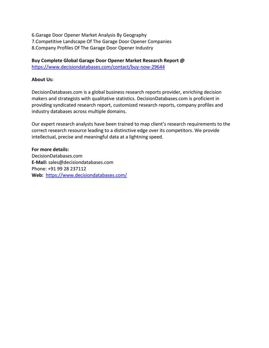Garage Door Opener Market Industry Research Report 2018 2025 Page 1 Created With Publitas Com