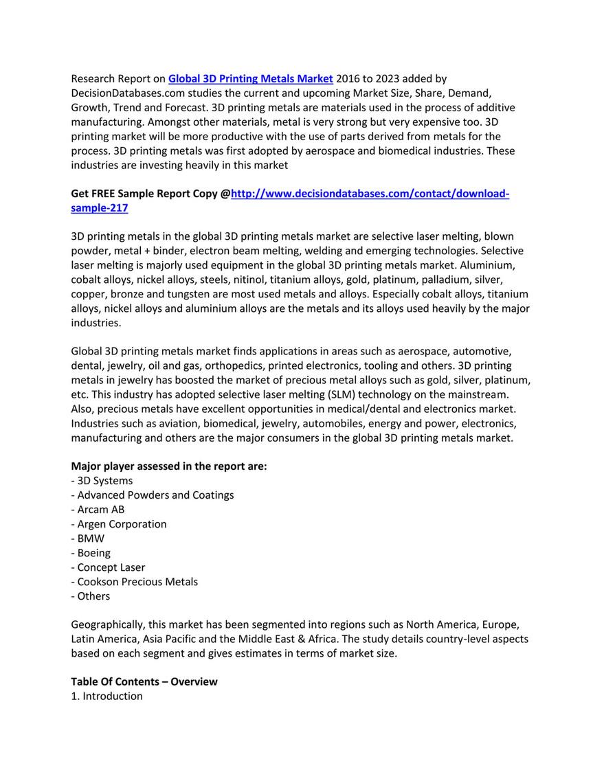 Market Report - 3D Printing Metals Market | Industry Outlook