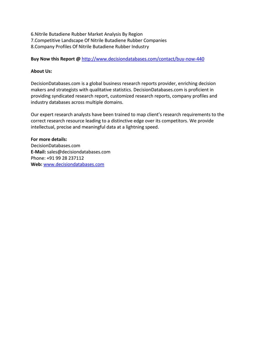 Market Report - Nitrile Butadiene Rubber Market | Industry