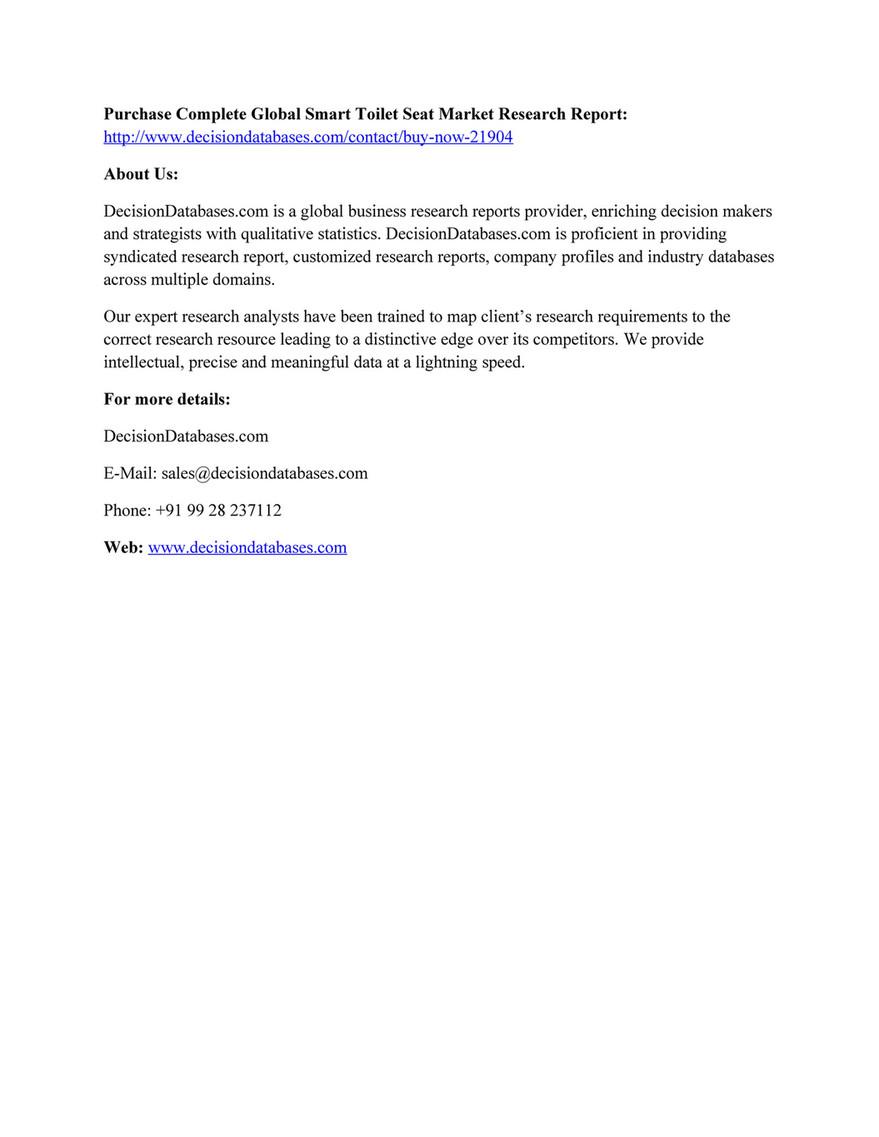 Market Research - Smart Toilet Seat Market 2016-2023 Industry ...