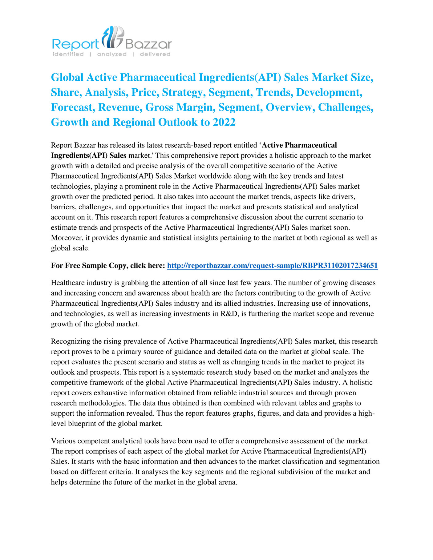 Report Bazzar - Active Pharmaceutical Ingredients(API) Sales