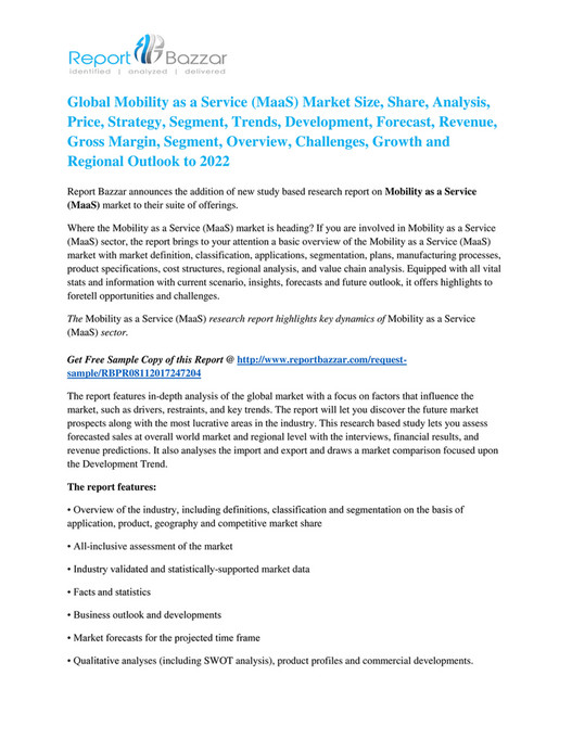 Report Bazzar - Mobility as a Service (MaaS) Market Worldwide