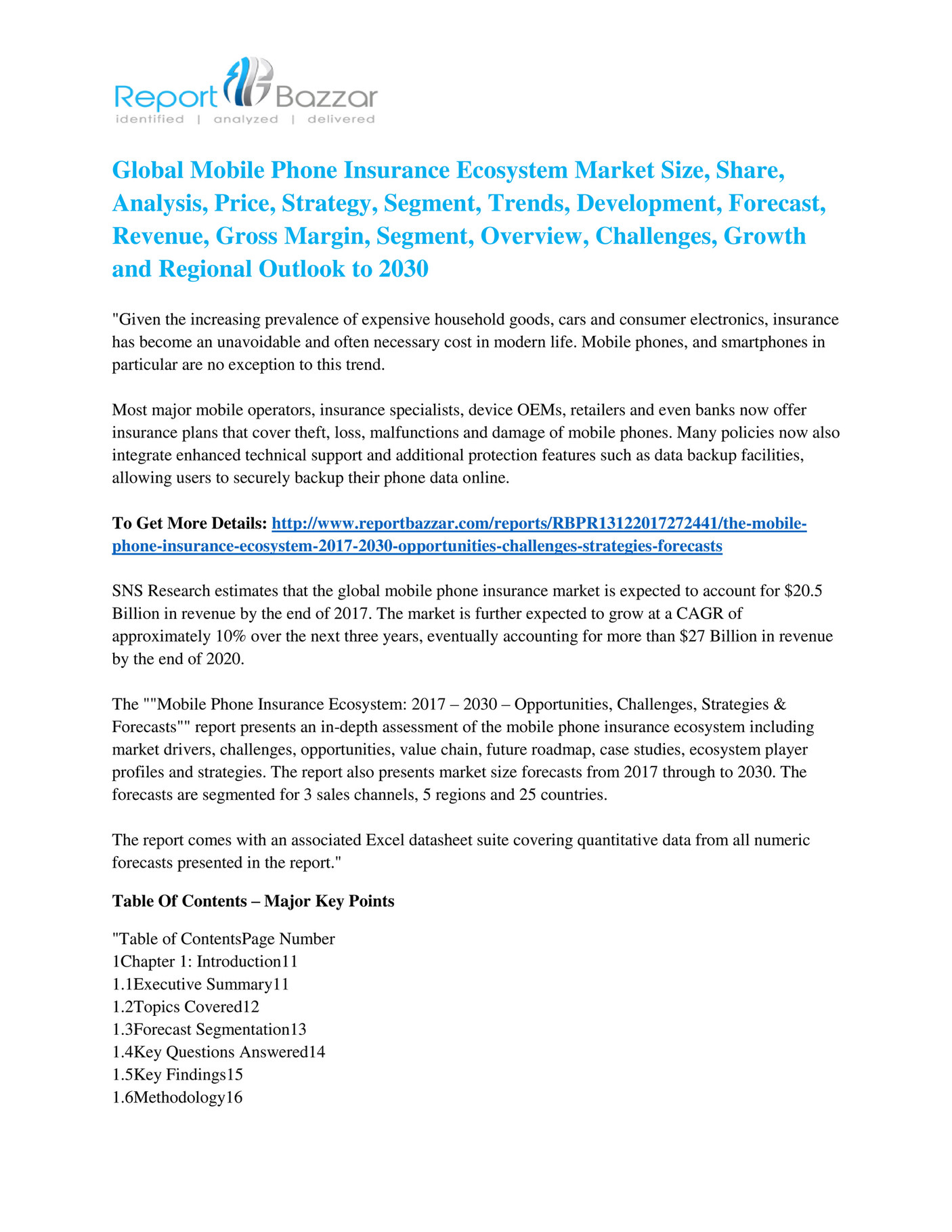 Report Bazzar - Mobile Phone Insurance Ecosystem Market - Global