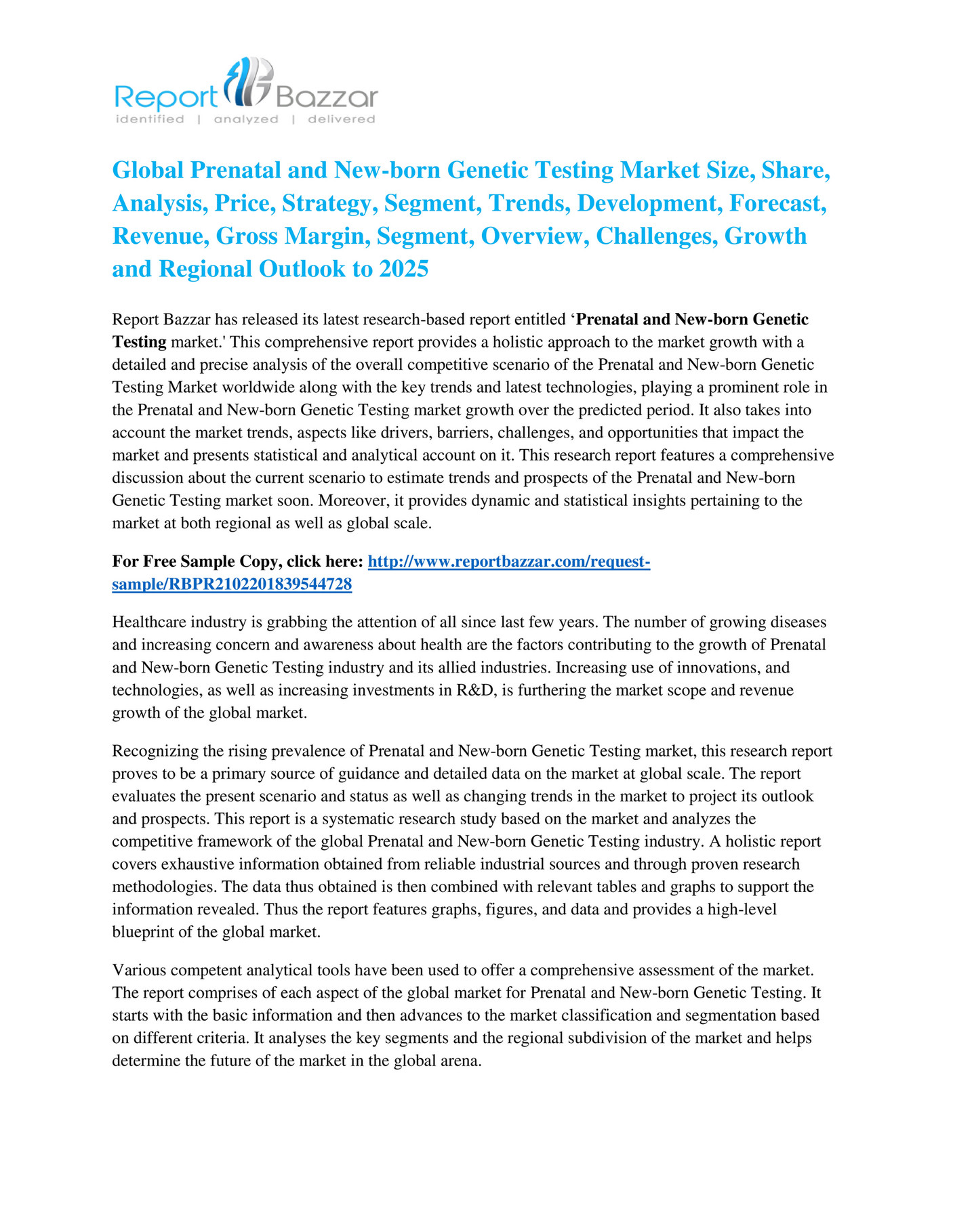 Report Bazzar - Global Prenatal and New-born Genetic Testing