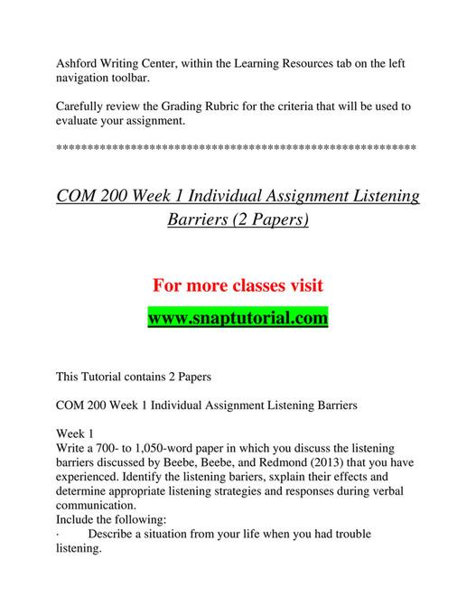Ashford University - COM 200 Course Extrordinary Success