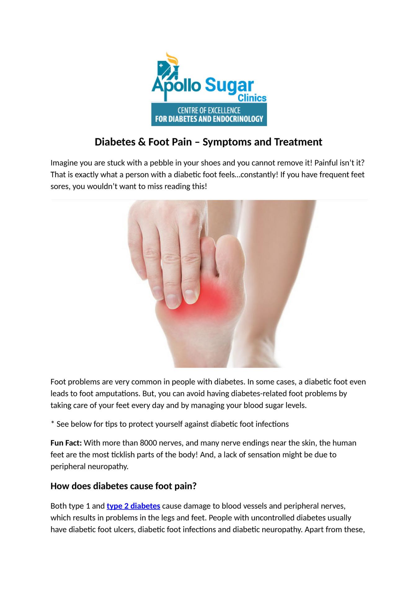 Apollo Sugar Clinic Diabetes Foot Pain Symptoms And