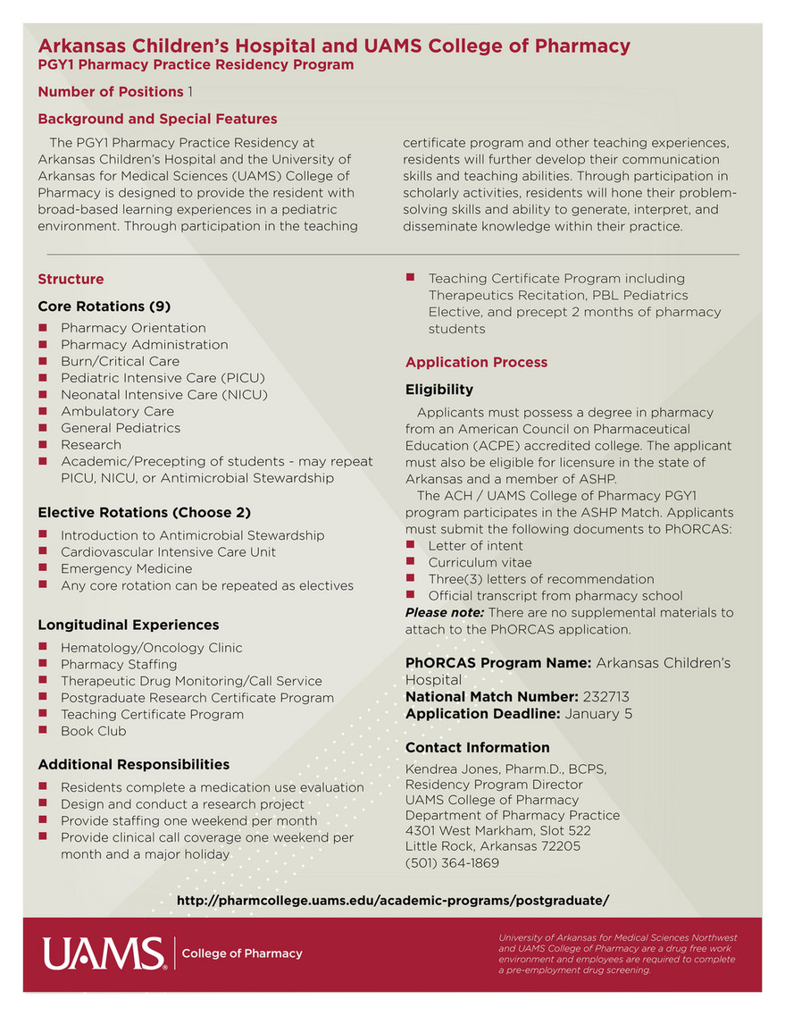 UAMS - UAMS College of Pharmacy Residency Programs - Page 10
