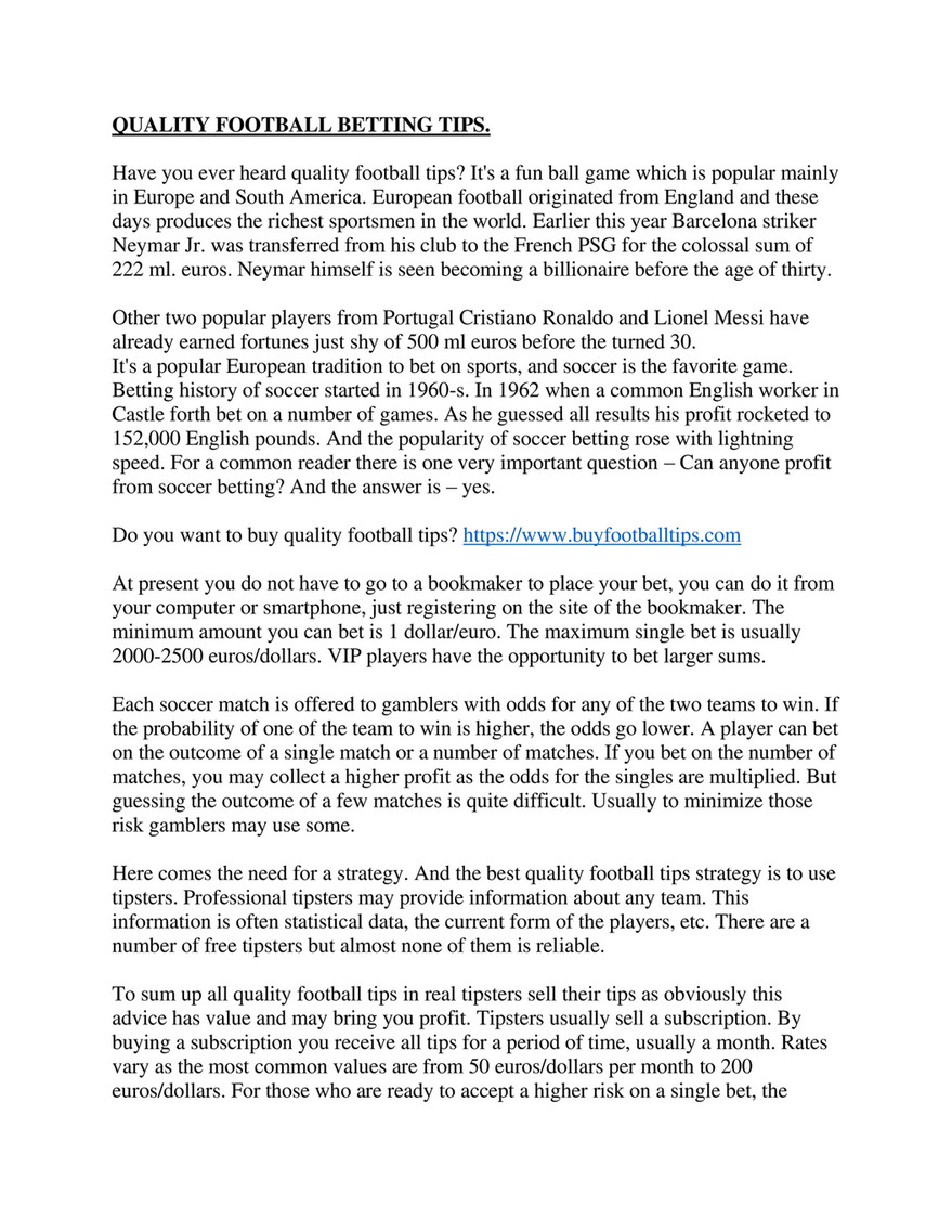 My publications - QUALITY FOOTBALL BETTING TIPS - Page 1 - Created