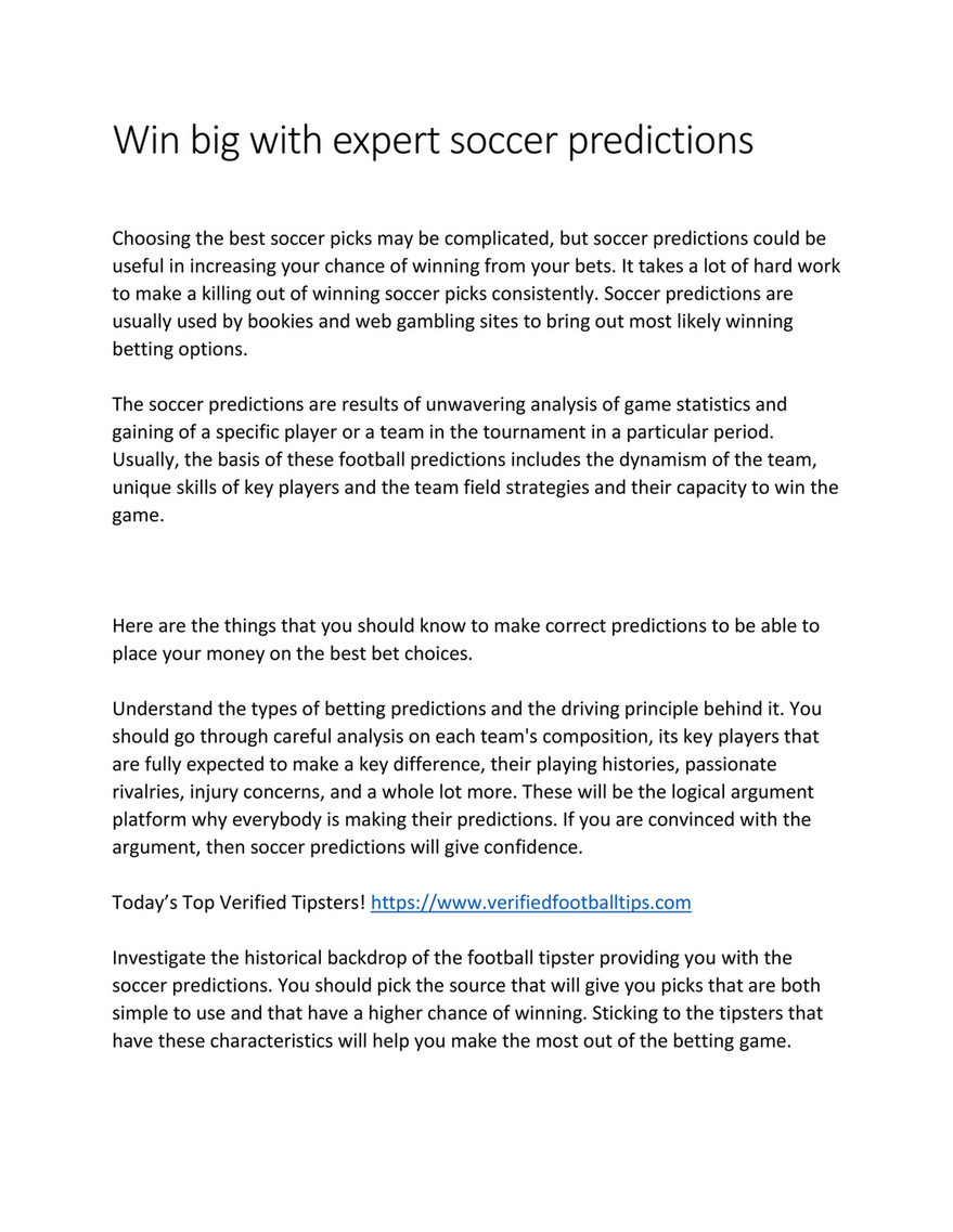 My publications - Win big with expert soccer predictions - Page 1
