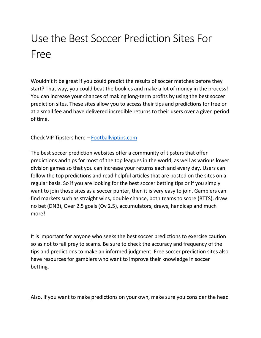 My publications - Use the Best Soccer Prediction Sites For Free