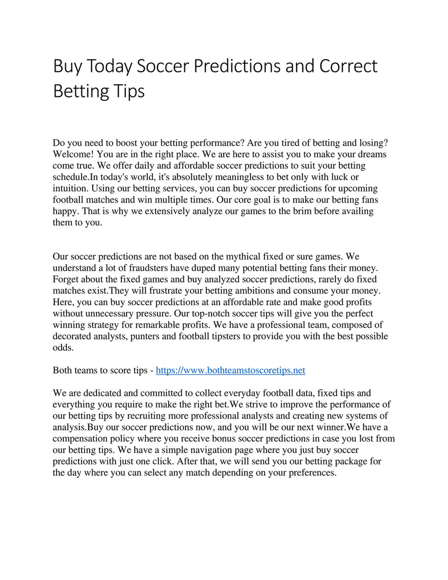 My publications - Buy Today Soccer Predictions and Correct Betting