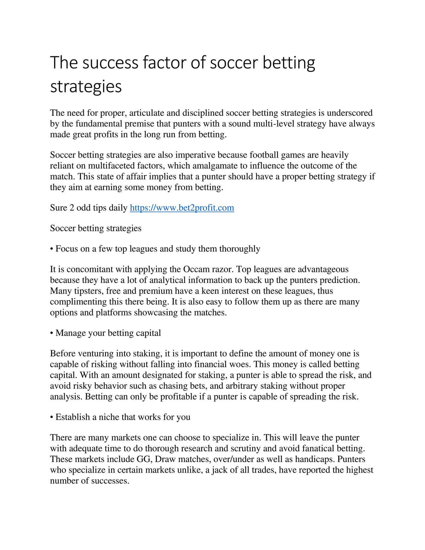 My publications - The success factor of soccer betting strategies