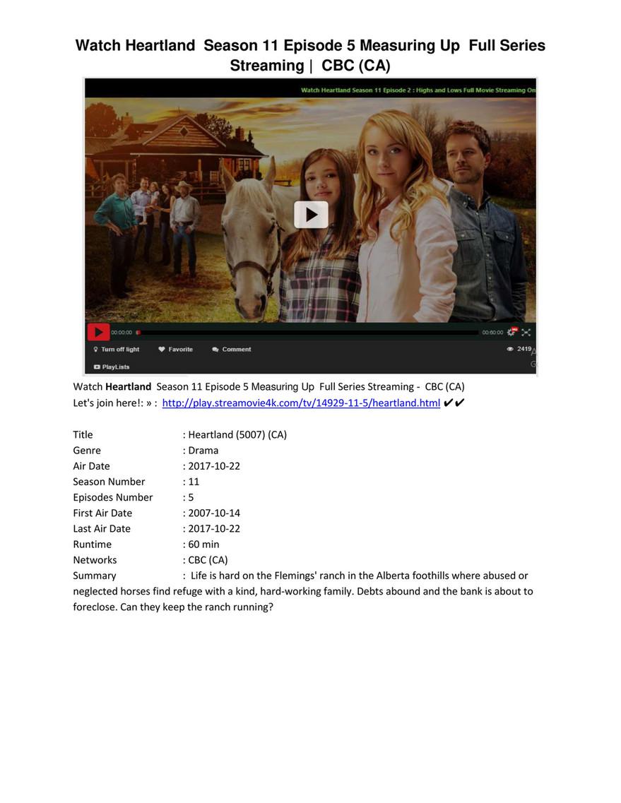 Heartland Season 11 Episode 5 Measuring Up Full Series - Page 1