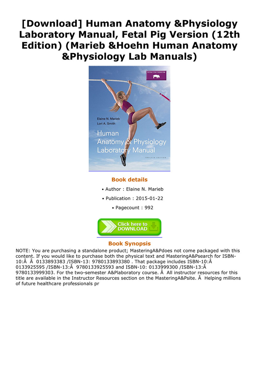 Human Anatomy And Physiology Lab Manual Fetal Pig Version 12th ...