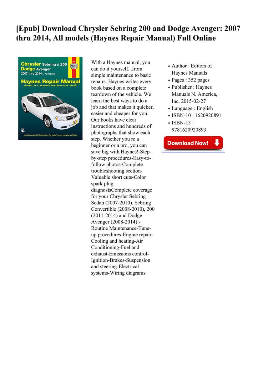 Customize Books Chrysler Sebring & 200 and Dodge Avenger All ...
