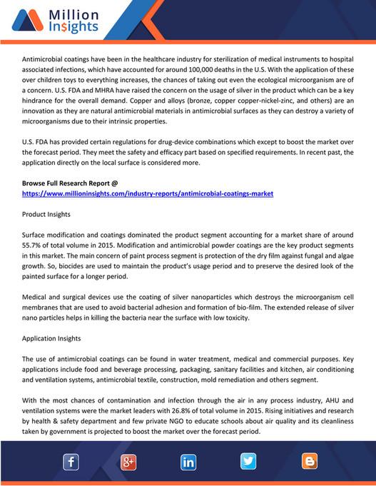 Market Developer - Antimicrobial Coating Market Volume