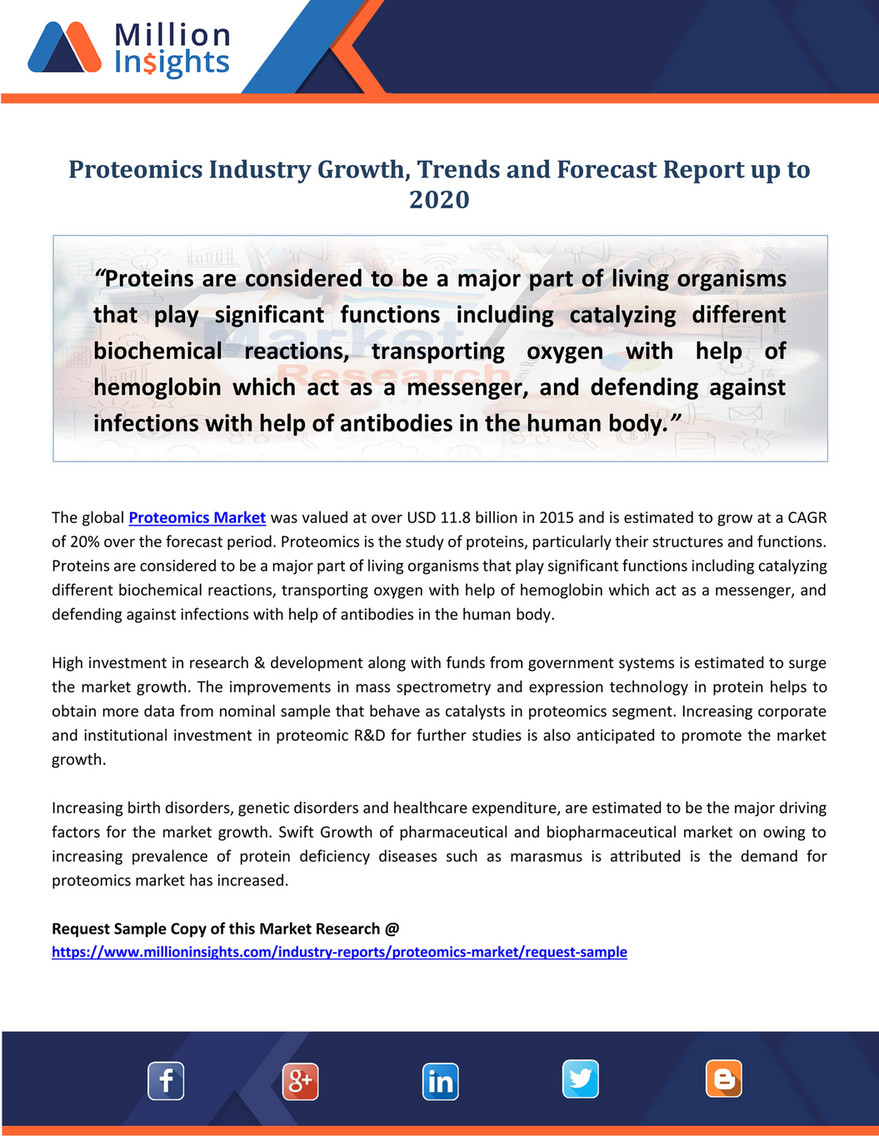 Investment Trends 2020.Market Developer Proteomics Industry Growth Trends And