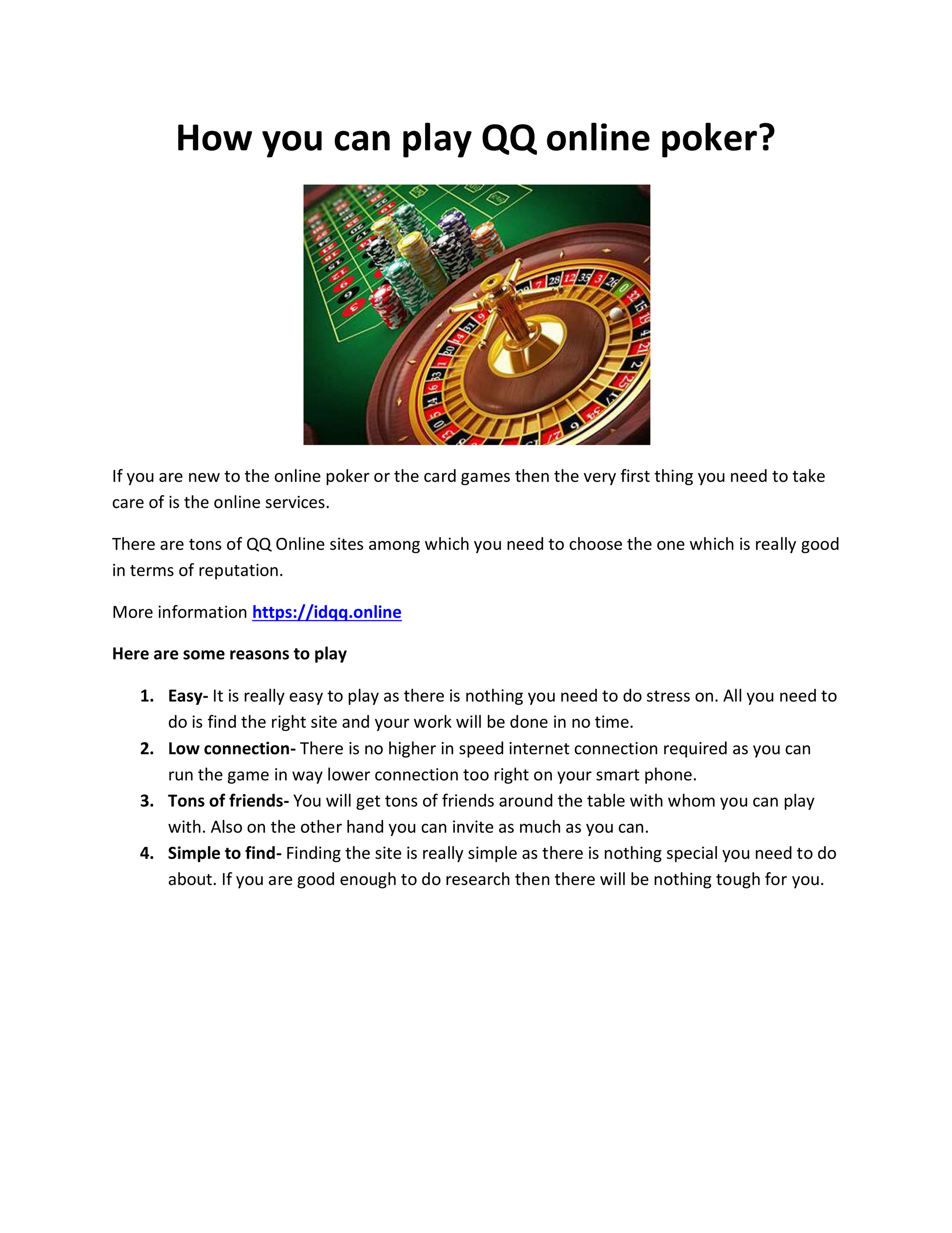 Lyleandrews How You Can Play Qq Online Poker Page 1 Created With Publitas Com