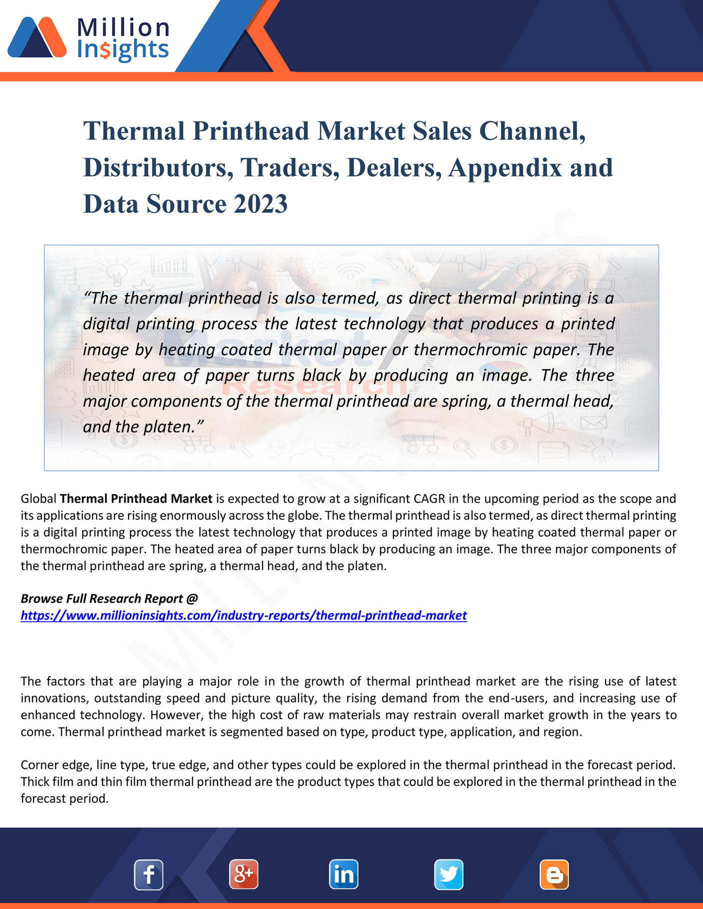 My publications - Thermal Printhead Market Sales Channel